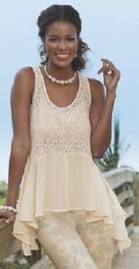 Monroe-and-Main-Ivory-Lace-Hanky-Hem-Top-Blouse-Size-L