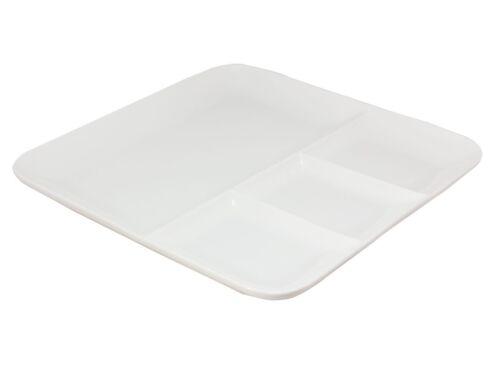 2 Fondueteller 25x25 cm Grillteller Häppchenteller Keramik weiß