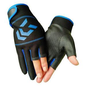 3 Fingers Cut Fishing Gloves Anti-slip Waterproof Skidproof Sun Protection