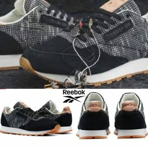 e9c61b207ff16 Image is loading Reebok-Classic-Leather-Ebk-Shoes-Sneakers-Black-Grey-