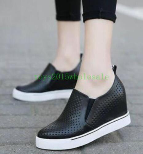 Womens Breathable Wedge Hidden Heel Sneakers Summer Hollow Sports UK Shoes 8
