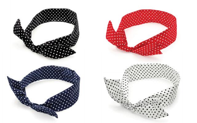 Polka Dot Spotty Bendy Wire Headscarf Headband Hair Band Retro 60s