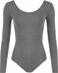Womens-Ladies-Scoop-Neck-Bodysuit-Long-Sleeve-Leotard-Plain-Stretch-Basic-Top