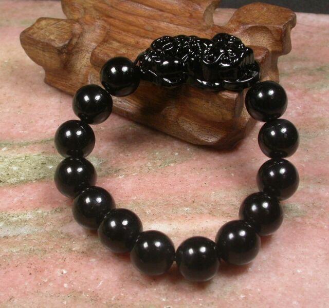 10mm Chinese Black Jade Bead Dragon Pi Xiu Coin Bangle Feng Shui Bracelet