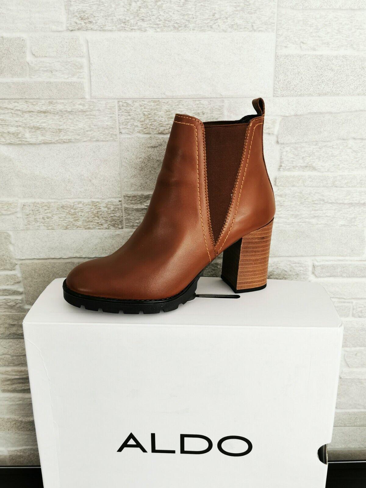 ALDO Ladies Size 4 UK (37) GALOREVIA Tan Leather Chelsea Boots NEW BOXED