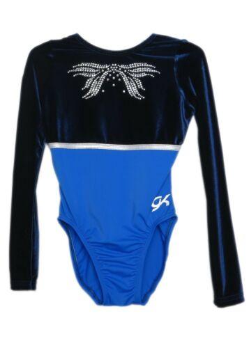 AXS Adult Extra Small 4115 GK Elite Jeweled Navy Velvet Gymnastics Leotard