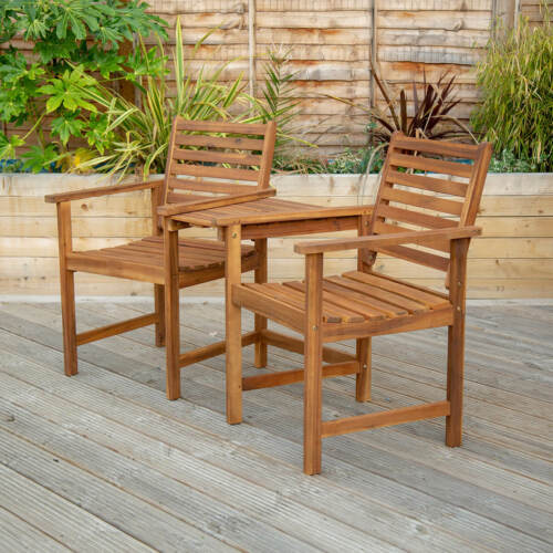 Wooden Companion Seat Garden Chairs with Table Wooden Bistro Garden Furniture