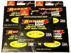 """Arrow T-75 9/16"""" Beige Staples 5000 Staples USA Made #759"""