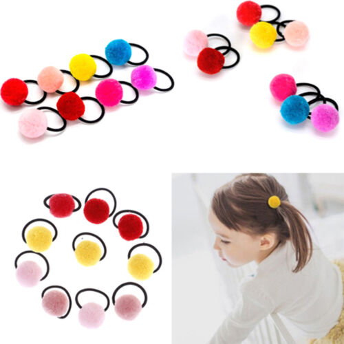 10pcs baby hair accessories cute hairball baby girls head wear rubber bands I4