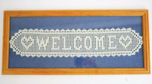 HAND CROCHETED Framed Welcome Wall Hanging Picture Art FARMHOUSE CHIC 21.5""