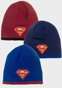 Image is loading Boys-Superman-Knitted-Winter-Hat-Official-Beanie-3- 1bc8af736c4