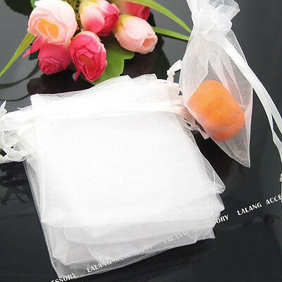 50pcs Pretty White Organza Jewels Pouch Gift Bags 8x10cm Wholesale LC