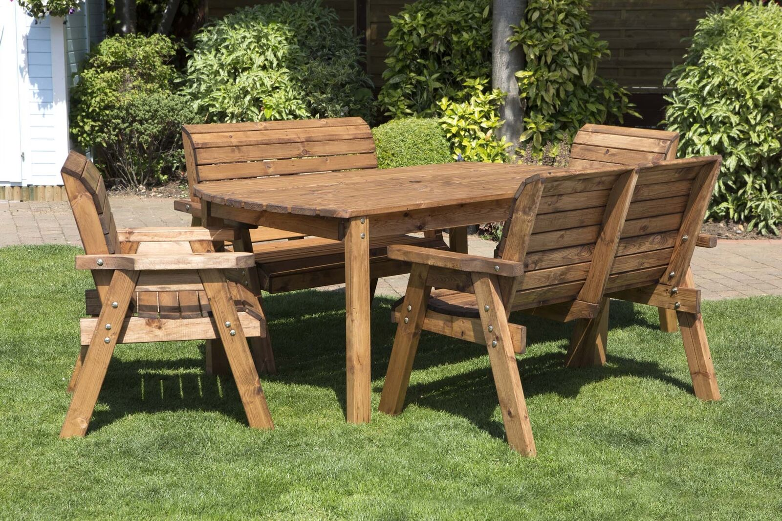 Hand Made 20 Seater Chunky Rustic Wooden Garden Furniture Table and ...