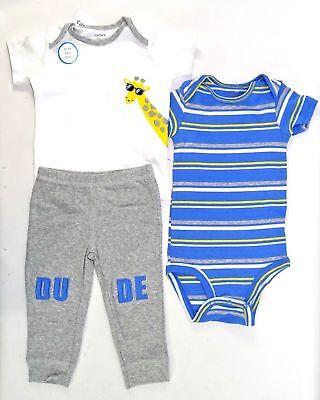 """Size 18 Months New! Carter/'s Boy/'s 3-Piece Giraffe /""""Dude/"""" set"""