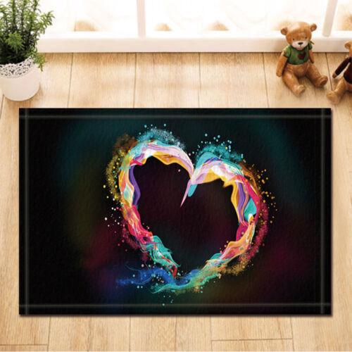 Watercolor heart Valentine/'s Day Non-Slip Floor Outdoor Indoor Door Mat bathroom