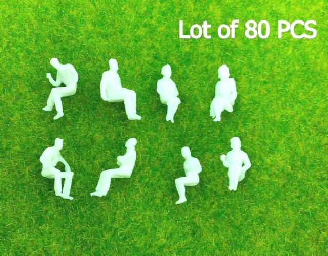 80 PCS HO scale ALL Seated People sitting figures Passengers 1:100