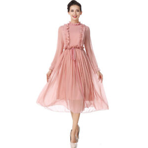 Vestiti Eleganti Rosa Antico.Dettagli Su Elegante Vestito Abito Donna Rosa Cipria Maniche Scampanato Slim Morbido 4208