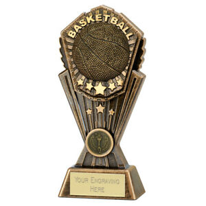 Basket Trophy 3 sizes available engraved free Resin Player Basket Trophies