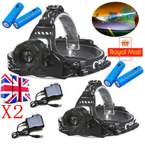 90000LM-Zoomable-Headlamp-T6-LED-Headlight-Flashlight-Charger-18650-Battery-UK