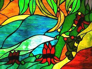 Image Is Loading Tree Frog Amp Sturt Desert Pea Stained Gl