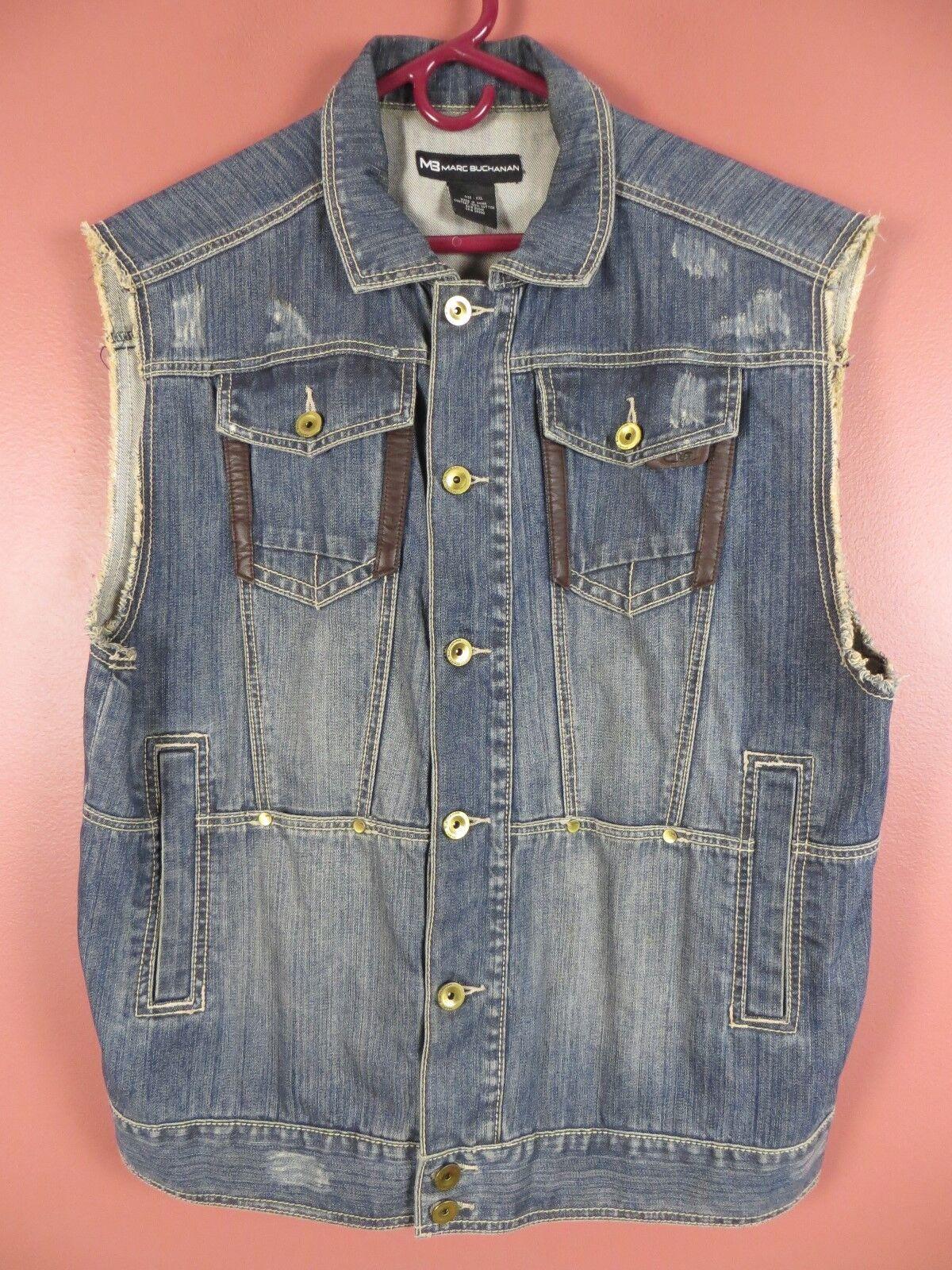 CJ0690-  MARC BUCHANAN Mens Cotton Vest Faux Leather Trim Destressed bluee Sz XXL