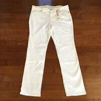 Women's Lands' End White Mid-rise Slim Jeans, Size 16, With Tags