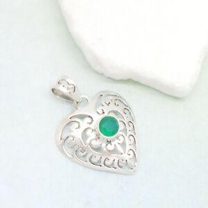 Indischer-Smaragd-gruen-Herz-Nostalgie-Design-Anhaenger-925-Sterling-Silber-neu