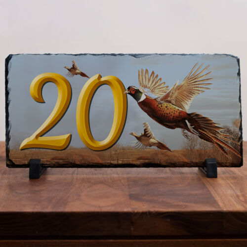 Pheasant House Number Slate Name Cottage Sign Plaque Door Personalised Gift SL44