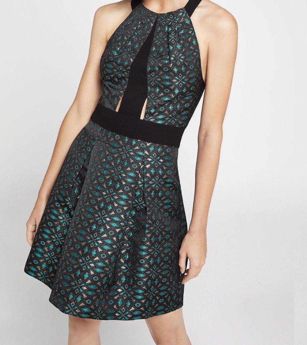 NEW damen's Bcbgeneration Metallic Jacquard Halter Dress SZ 2 Beautiful