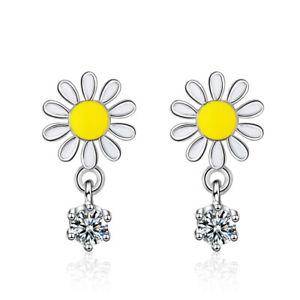 a9084ac00bae6 Details about 925 Silver Earrings Cute Daisy Flower Cubic Zirconia Stud  Earrings Women Jewelry