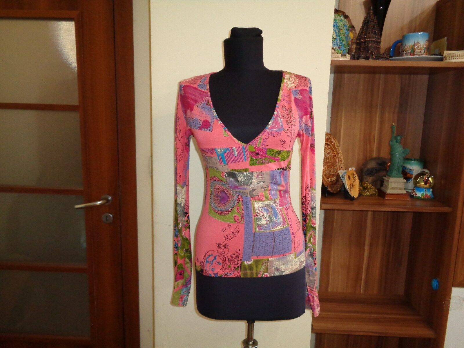 CHRISTIAN LACROIX JEANS MULTICOLGoldt STRETCH JERSEY COMICS ABSTRACT PRINT TOP