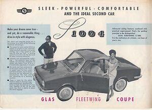 Glas Fleetwing S 1004 Coupé 1961 Original Marché Britannique Original Brochure Notice-afficher Le Titre D'origine Jzavhcmo-07225435-563396752