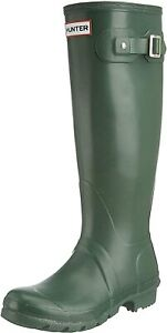 Hunter Original Tall Gloss Ladies Dark olive Boots 6