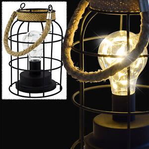 LED Laterne Hängelampe Tischlampe Retro Vintage Glühbirne Batterie Metall Glas