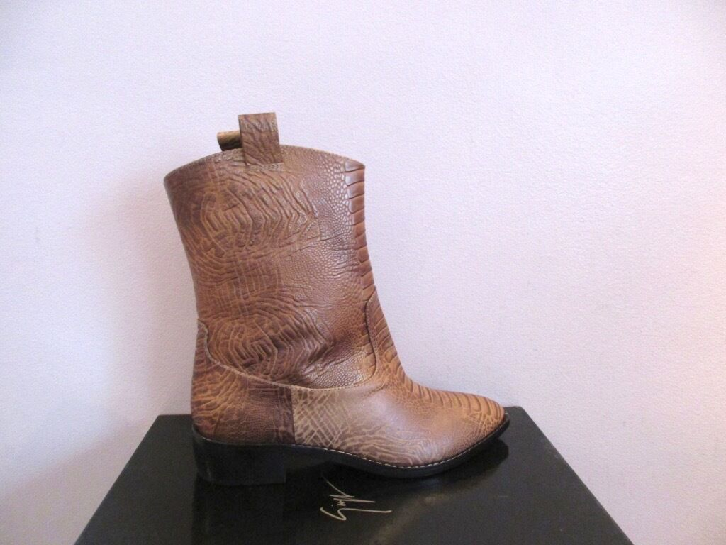 Giuseppe Zanotti Design Italy Brown Leather Western Boots 40.5