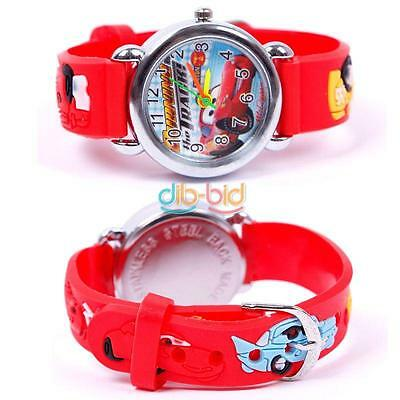 Cartoon Cute 3D Cars Child Boys Kids Girls Analog Quartz Wrist Watch Rubber Gift