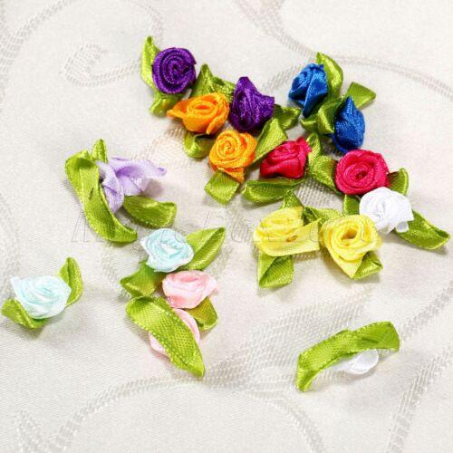 100pc Moda Artesanía Cinta De Raso Rosa Flor Hoja Decoración para Boda apliques coser