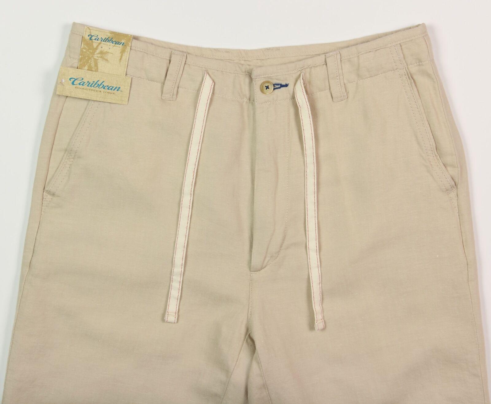 Men's CARIBBEAN Natural Light Khaki LINEN COTTON Drawstring Pants 32x32 NEW NWT