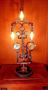 Machine-Age-Lamp-Steam-Punk-Gauge-Light-Gear-Boiler-Industrial-FREE-SHIPPING