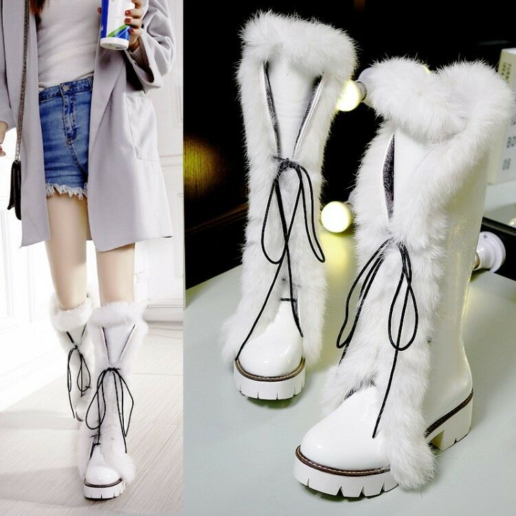 Womens Fur Trim Knee High Boots Lace Up Riding Platform Chunky Heels Shoes Size