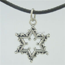 "16800 Vintage Silver Star of David Jewish Traditionally Pendant Necklace 18"""