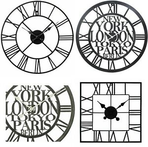 Large-Metal-Skeleton-Roman-Numeral-Wall-Clock-Black-Round-amp-Square-Shape-40-60cm