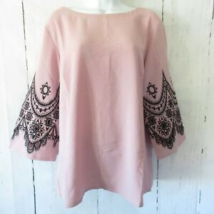 New-Bob-Mackie-Top-M-Medium-Blush-Pink-Black-Embroidered-Cut-Out-Bell-Sleeve