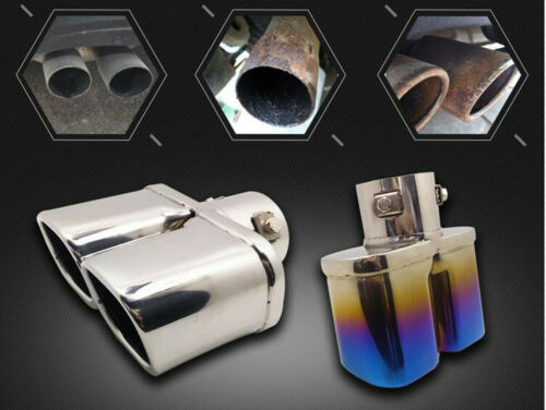 """Stainless Steel 1 to 2 Dual Car Exhaust Tip Square Tail Pipe Muffler 63mm 2.5/"""""""