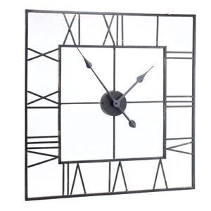 Grand-carre-en-metal-noir-squelette-Vintage-Chiffre-Romain-Horloge-murale-60-cm