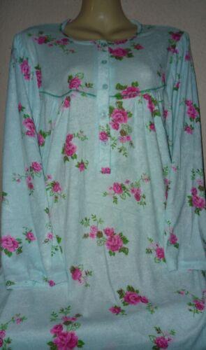 XXL L,XL Frottee Nachthemd Langarm kuschelig warm Gr 3XL 40-56 mint Rose M