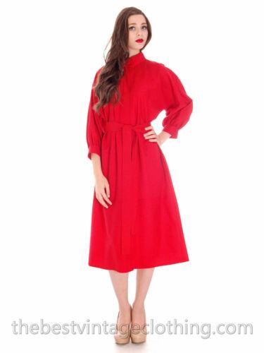 Vintage Vuokko Womens S/M 1970s Dress Red Fine Woo