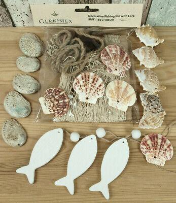 Deko Fischernetz 1,5x1m 4 Schwimmer 15 echte Muscheln DR 3 Fische aus Holz