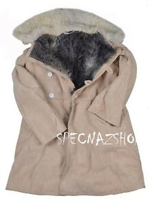 BEKESHA TULUP Soviet USSR Army ISSUE Sheepskin & Fur Shearling ...