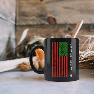 Juneteenth African USA Flag Freedom Day Ceramic Black Mug 11oz 15oz